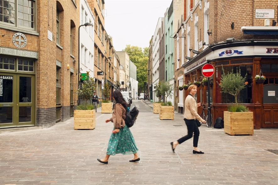 Rivington Street, an existing Ultra Low Emission Street in Shoreditch, Hackney. Image: Hackney Council