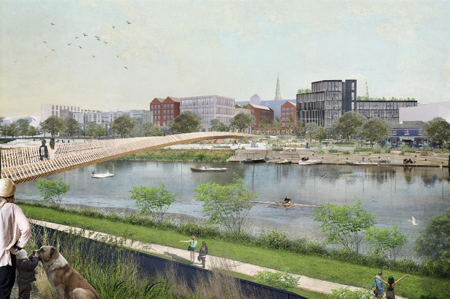 The project will create new parks, squares and a Riverside bridge - credit: Shropshire Council