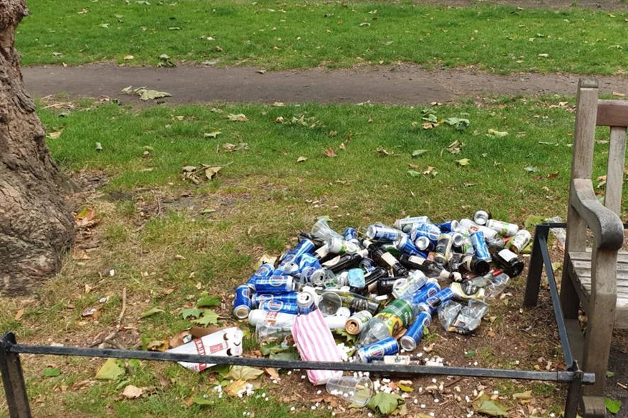 Litter at St James's Park - credit: The Royal Parks