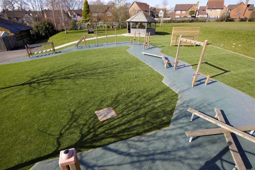 A school playground fitted with Perfectly Green turf. Image: Dwyer Group