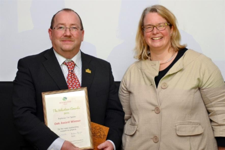 Sparks receives awards from Woodland Trust chief executive Beccy Speight - Image: WT
