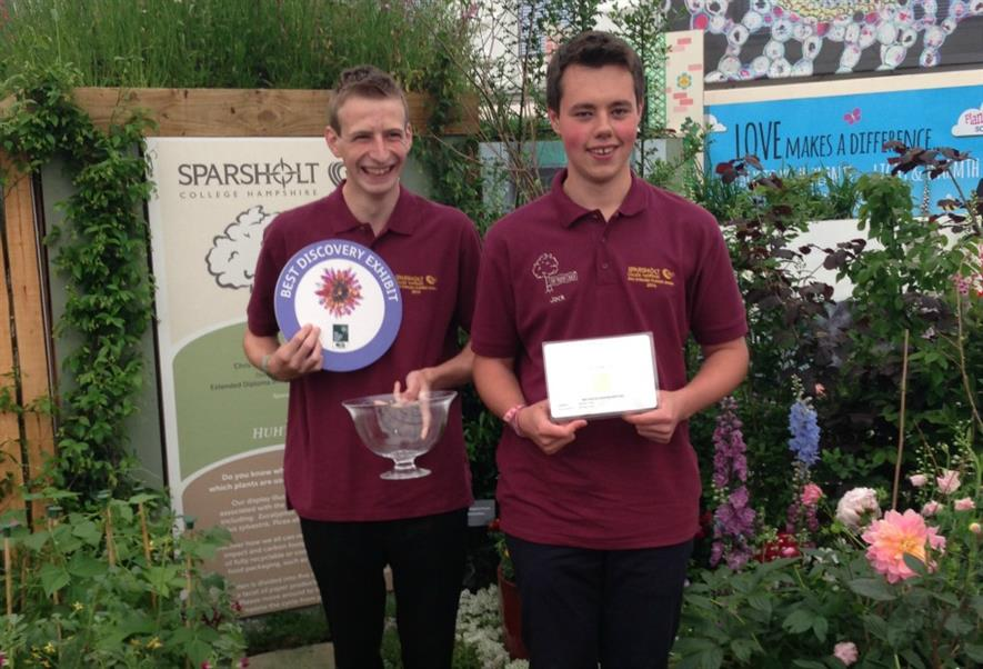 Jack Shilley (left) and Jack Bushnell this year's Chelsea Sparsholt garden