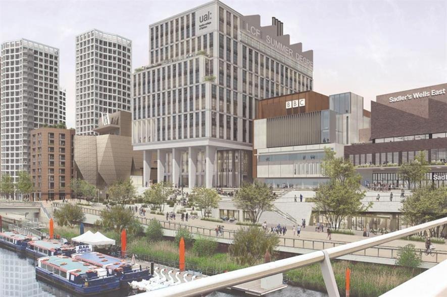 "LDA Design's vision of ""distinctly different"" Stratford Waterfront. Image: LDA Design"
