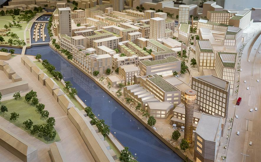 Model of Sugar House Island shows network of public spaces. Image: Planet-IE