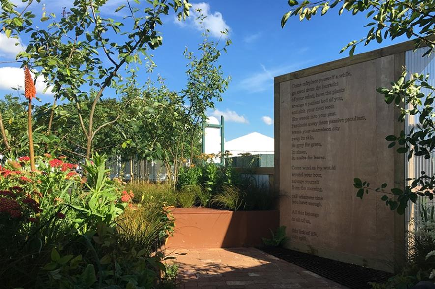 The garden on display at RHS Tatton Park, complete with poem. Image: supplied