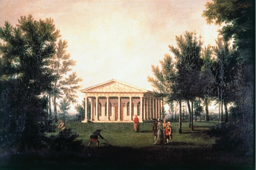 Hamilton's original Temple of Bacchus. Image: Painshill Park Trust
