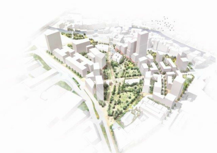 Visualisation of the masterplan shows the importance of the park. Image: Vastint