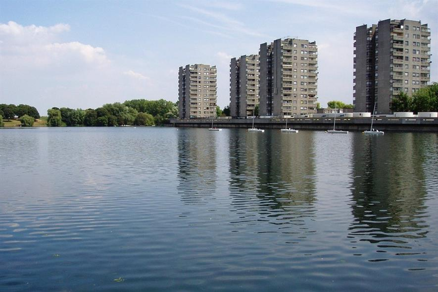 Towers at Thamesmead from Southmere Lake. Image: Ewan-Munro (CC-by-SA-2.0)/ Flickr