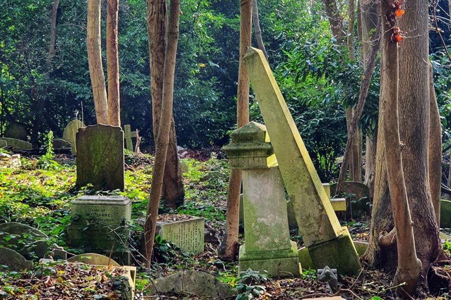 The leaning obelisk in Highgate Cemetery - credit: Friends of Highgate Cemetery Trust