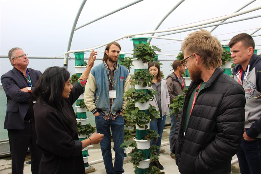 Tour of the outdoor vertical farm at Pershore's Agri-Tech Research Centre with Dr Anjana Patel