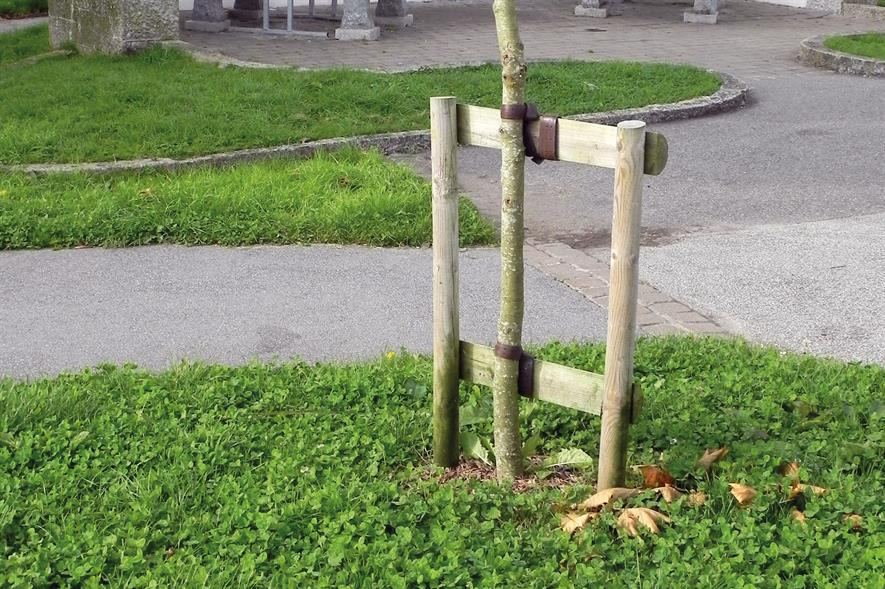 Double stake with cross bar: mostly used for container-grown and root balled trees - image: HW