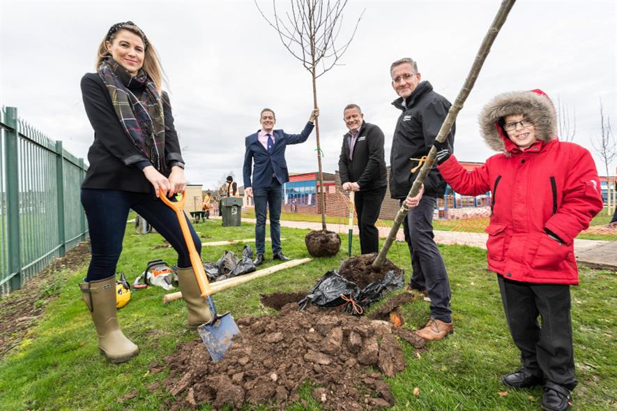 Mieka Smiles, Middlesbrough Council; Middlesbrough mayor Andy Preston; Michael Hall and John Woods, Thirteen Group; and pupil Mackenzie McCabe