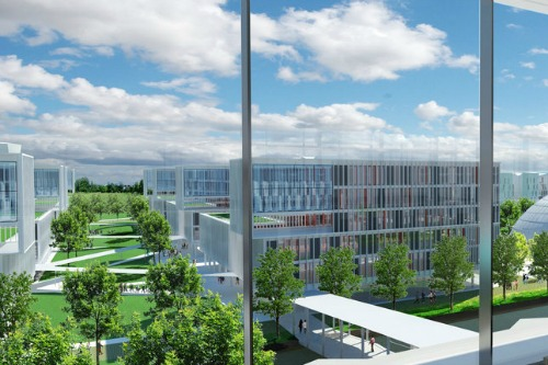 A CGI view of the landscape from one of the university windows