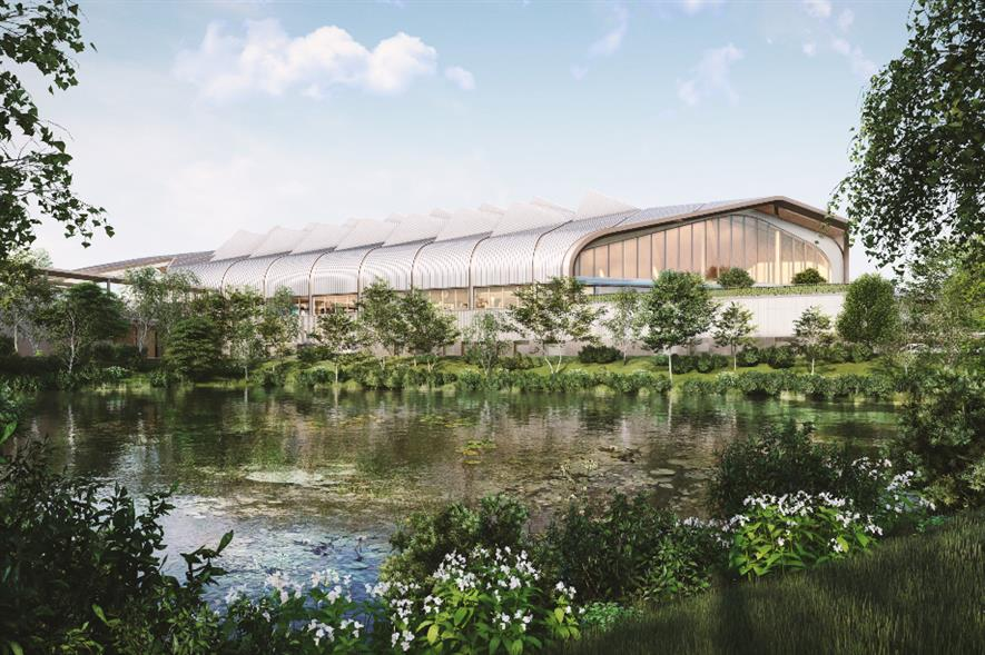View of HS2 Interchange station from the lake - credit: HS2 Ltd