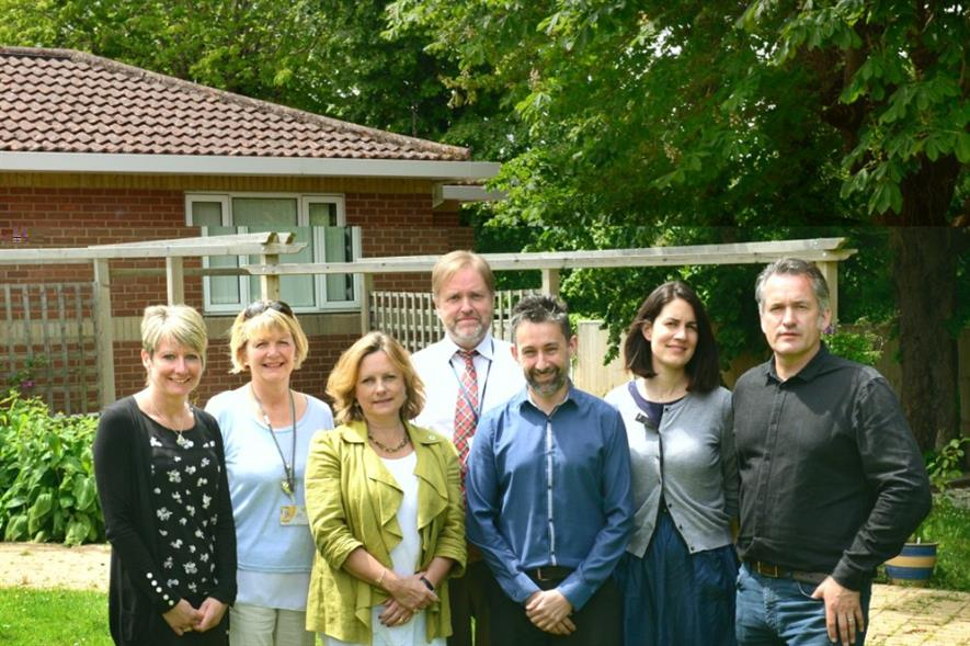 Staff and parents from Earl Mountbatten Hospice with Greenfingers members including Matthew Wilson, right. Image: Supplied