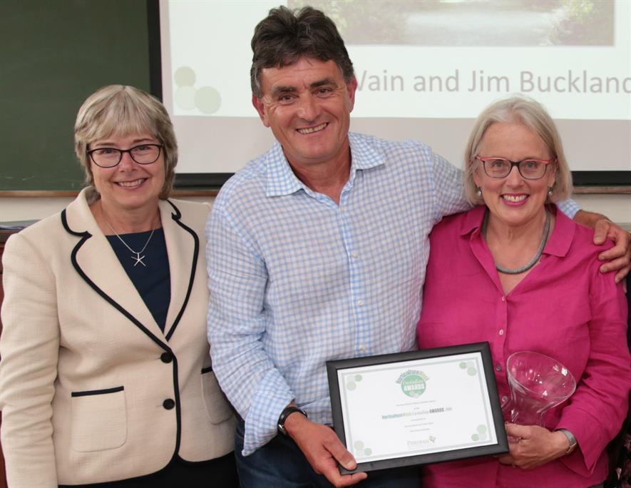 HW Custodian Awards host Sue Ireland with Jim Buckland and Sarah Wain, West Dean Gardens