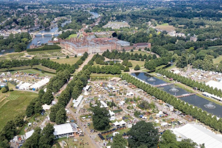 Drone footage of RHS Hampton Court Palace Garden Festival 2019 - credit: RHS/Chris Gorman