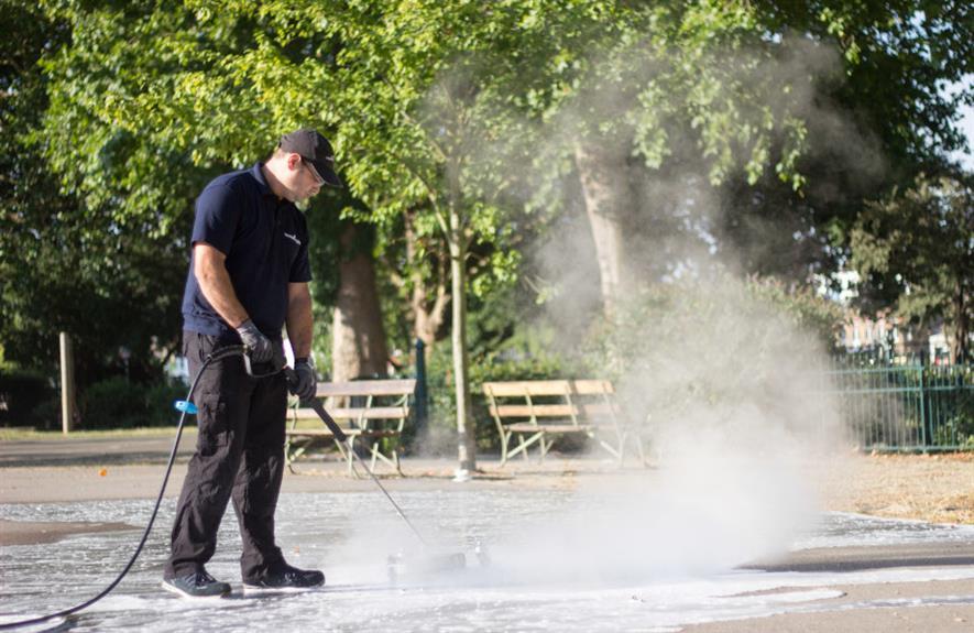 Foamstream uses hot water insulated by foam to kill weeds, algae, and now coronavirus - credit: Weedingtech