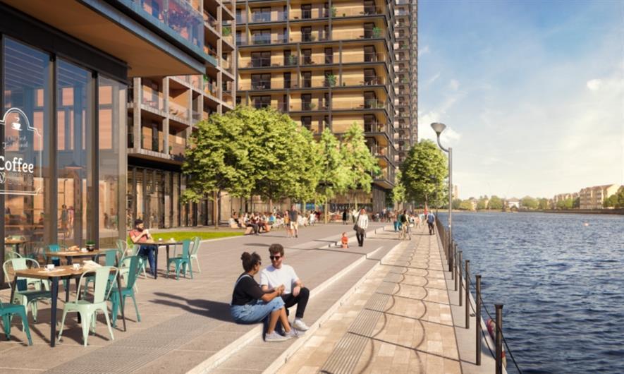 Westferry Promenade with landscape by LDA Design. Image: Westferry Developments