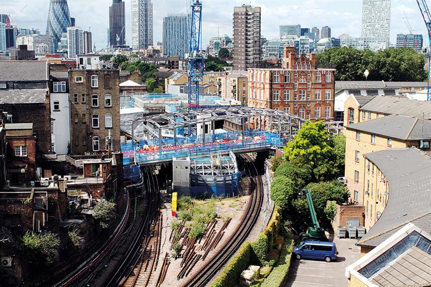 Whitechapel Station construction for Crossrail - image: © Crossrail