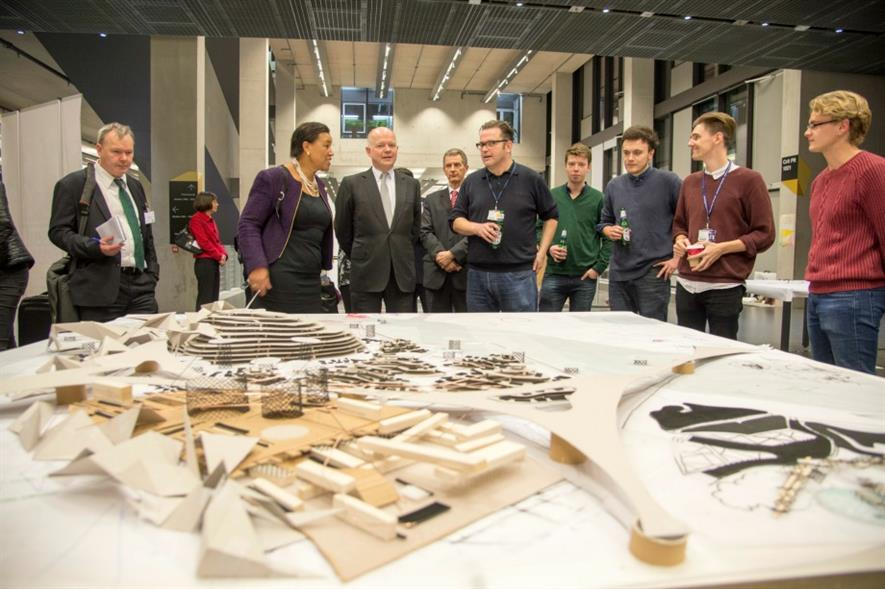 William Hague (centre) at the architecture and landscape department