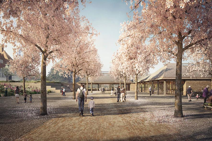 Welcome Building: forms part of a £160m RHS investment programme and landscape will feature an avenue of cherry trees - image: Forbes Massey