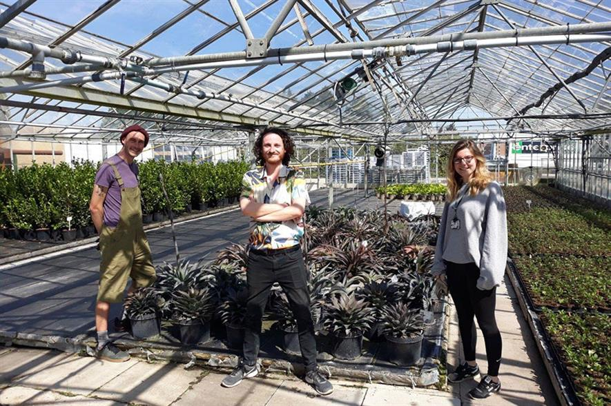 Wyevale Nurseries Production Manager Kyle Ross with Mark Tuson, team leader Welcome & Riverside at RHS Garden Wisley and Toni Brownalso from RHS