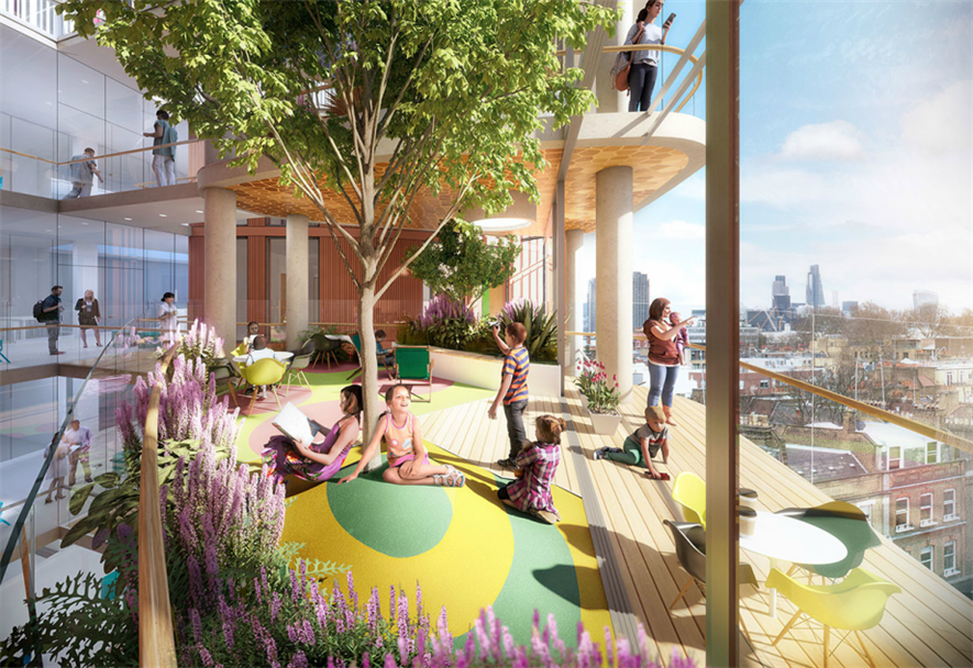 Visualisation of one of the 'lilypad' winter gardens. Image: BDP