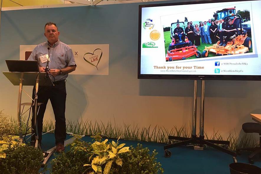 Parks and environment officer Simon Rose speaking at IoG Saltex 2016 - image: HW