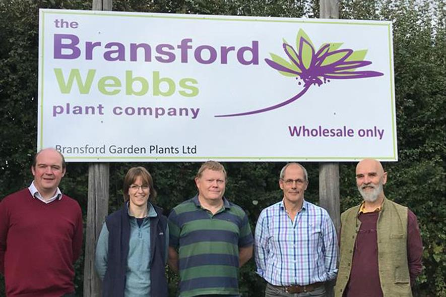 Ed Webb (Webbs Garden Centre), Christine Chalmers (Production Director), Richard Colbourne (Financial Director), Adrian Marskell (Managing Director), Will Tooby (Chairman).