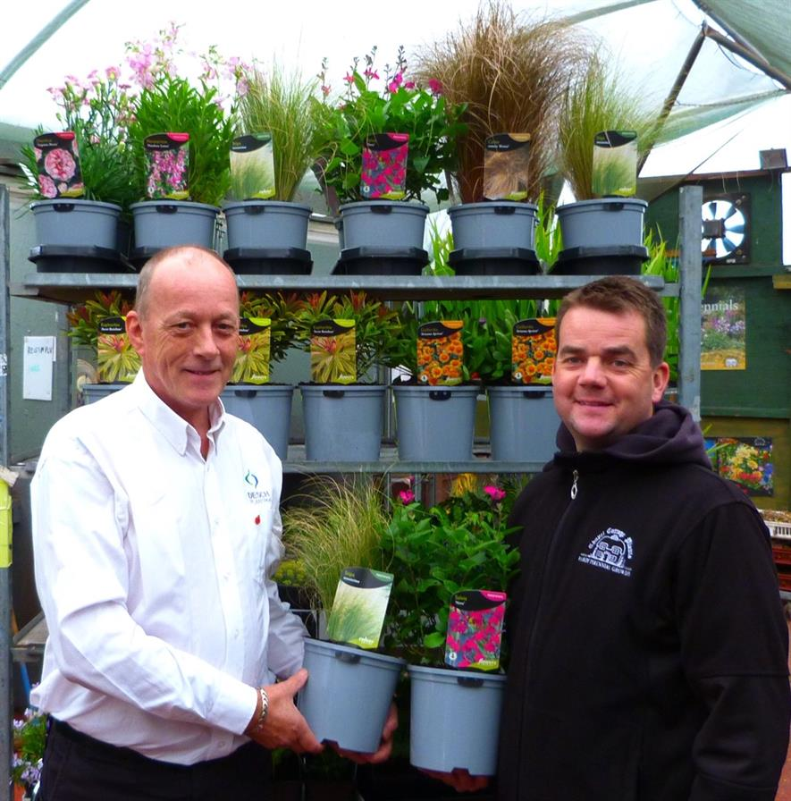 Desch-Plantpak Area Manager, Rob Boswijk (on the left) with Nicholas Green, Director of Chapel Cottage Plants