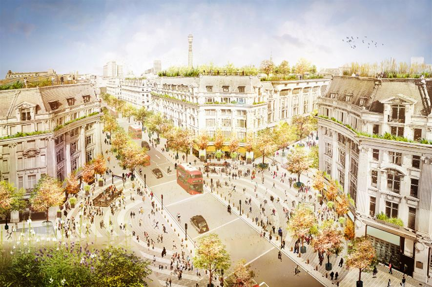 Bird's eye view showing future transformation of Oxford Circus with traffic continuing on Regent Street and two new Piazzas on Oxford Street, either end of the circus - credit: Publica
