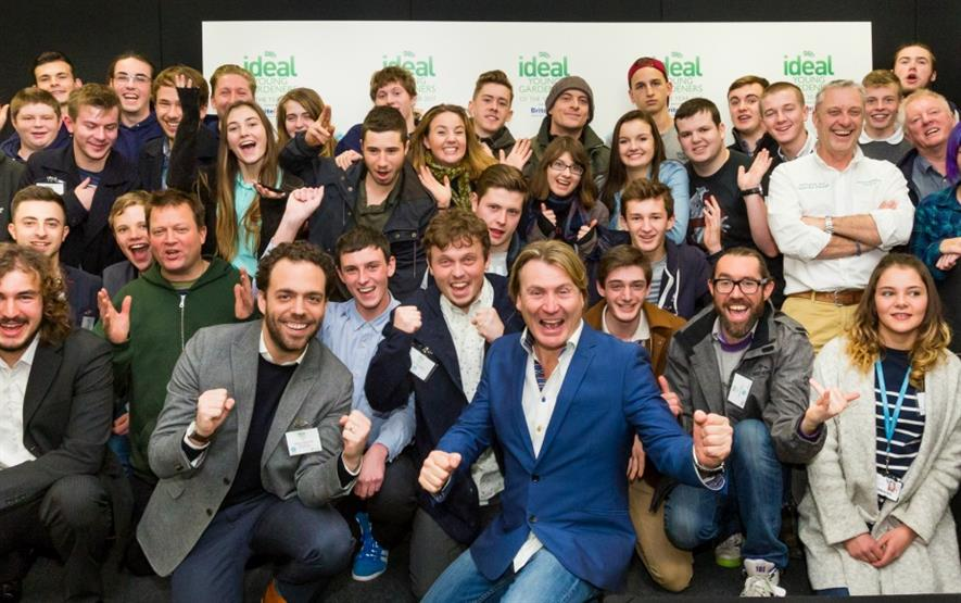 David Domoney with competitors at the launch of the Young Gardener of the Year 2017 launch
