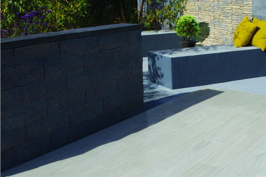 Madera wood-effect paving in Birch. Image: Bradstone