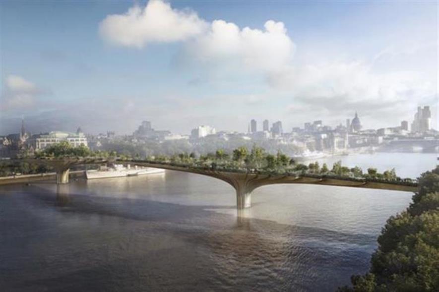 Artist's impression of the Garden Bridge. Image: Supplied