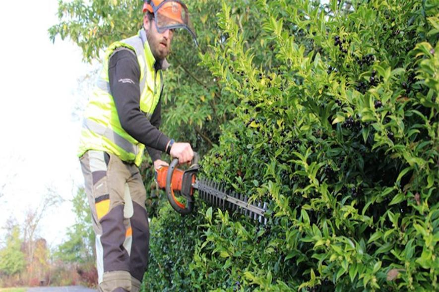 Hedge trimming using battery-powered equipment - image: Exeter City Council