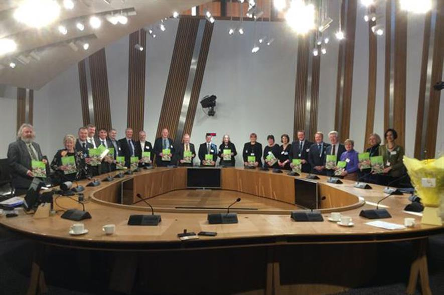 Members of the action panel present the Scottish Horticulture Action Plan in Holyrood in March. Image: HTA