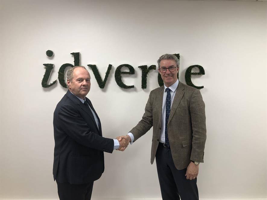 Hervé Lançon, CEO, id verde group, left, with Andy Brown, corporate accounts manager at The Toro Company.