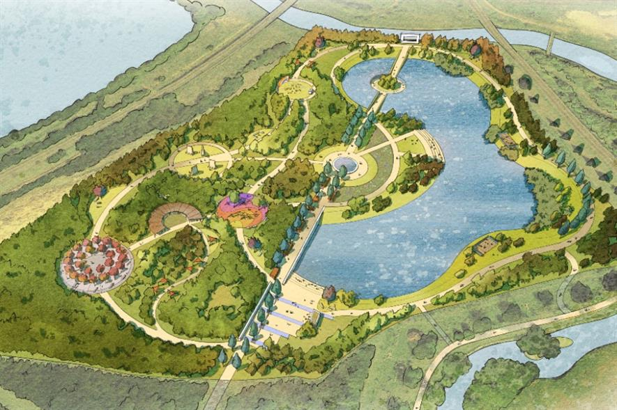 Plans are being developed to transform the existing scrubland and silt pond into a living landscape - credit: National Memorial Arboretum