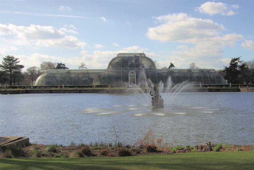 Kew's fountains will be lit up for the Christmas festival.