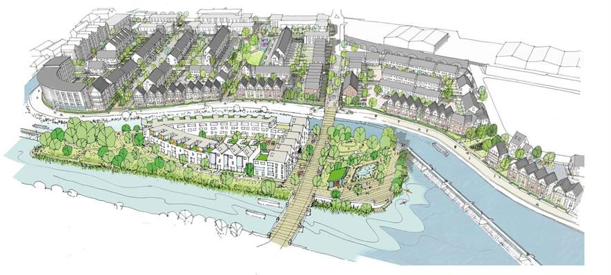 The planning application outlines three new green spaces. Image: Gillespies