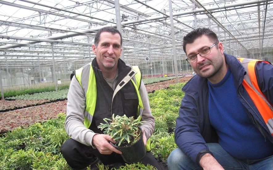 Neil Robins Hilliers Nurseries and Selchuk Kurtev IPM manager Certis UK