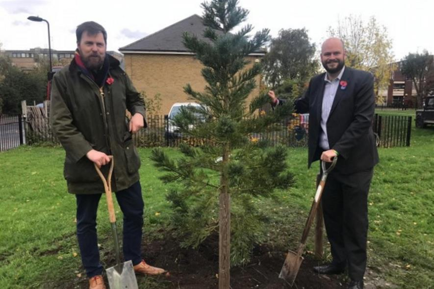 Cllr Jon Burke and Mayor of Hackney Philip Glanville launch the programme by planting a giant redwood - image: Hackney Council