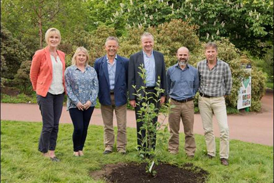 Prof Fiona Burnett (sector lead, agriculture), Sonia Humphris (centre manager), Prof Chris Quine (sector lead, forestry), Prof Gerry Sadler (Chief Plant Health Officer for Scotland), Prof Ian Toth (centre director) and Prof Pete  Hollingsworth (secto