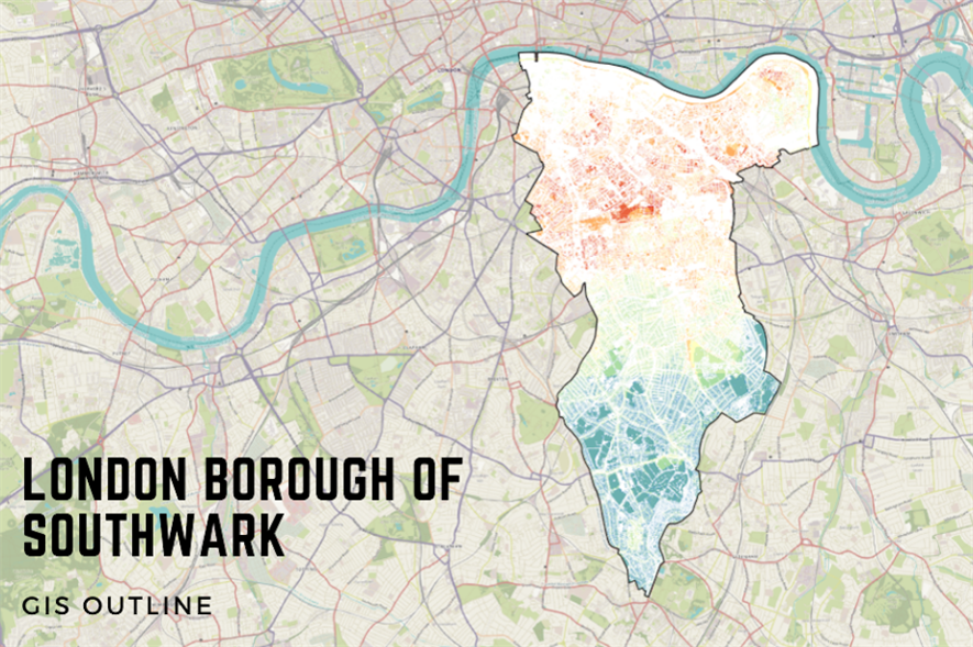 A geographic information system (GIS) representation of Southwark - credit: Treeconomics
