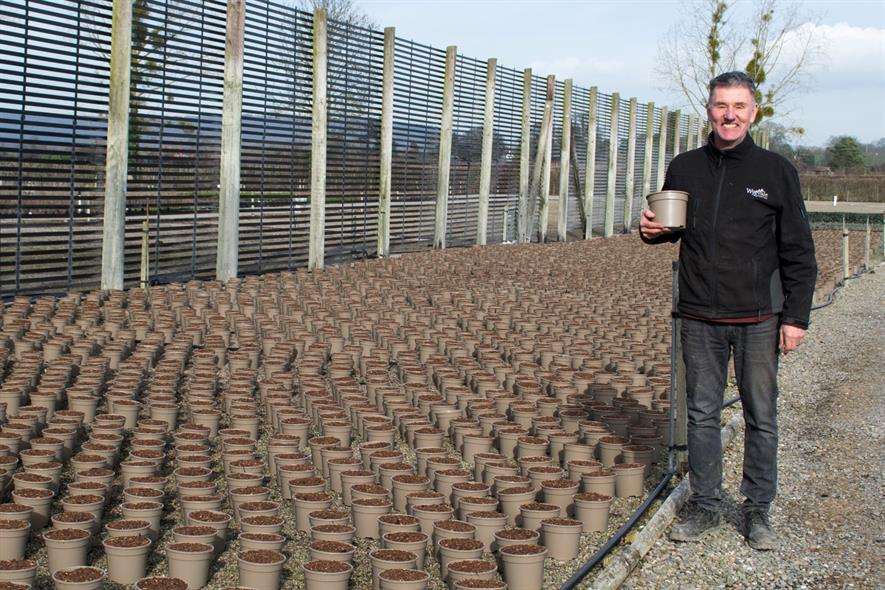 Wyevale Nurseries production director Steve Reed with recyclable taupe plant pots