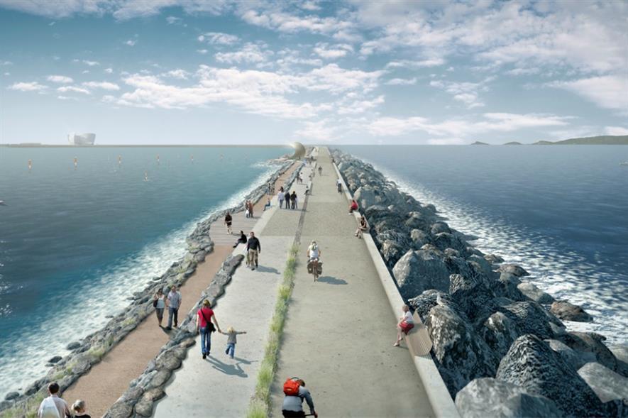 Swansea Bay tidal lagoon artist's impression. Image: LDA Design