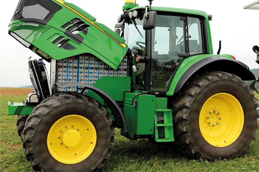 SESAM: battery tractor features two 150kW electric motors in a JD 6R Series chassis - image: John Deere