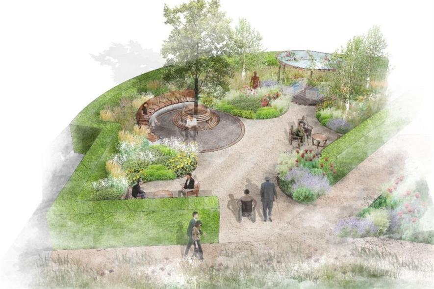 The Transplant Garden is a courtyard area outside the High Dependency Ward of Harefield - Bowles & Wyer