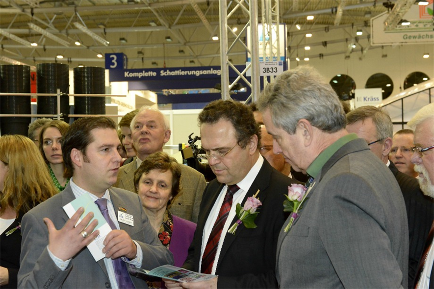Stuart Booker (left) meets German politicians